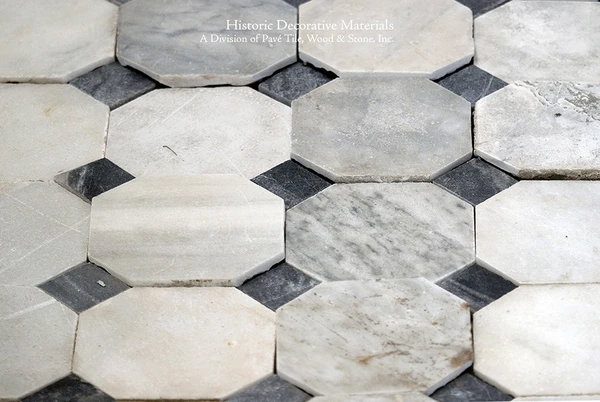 18th Century Italian Antique Black and White Marble Stone Floors: Elegant Octagon