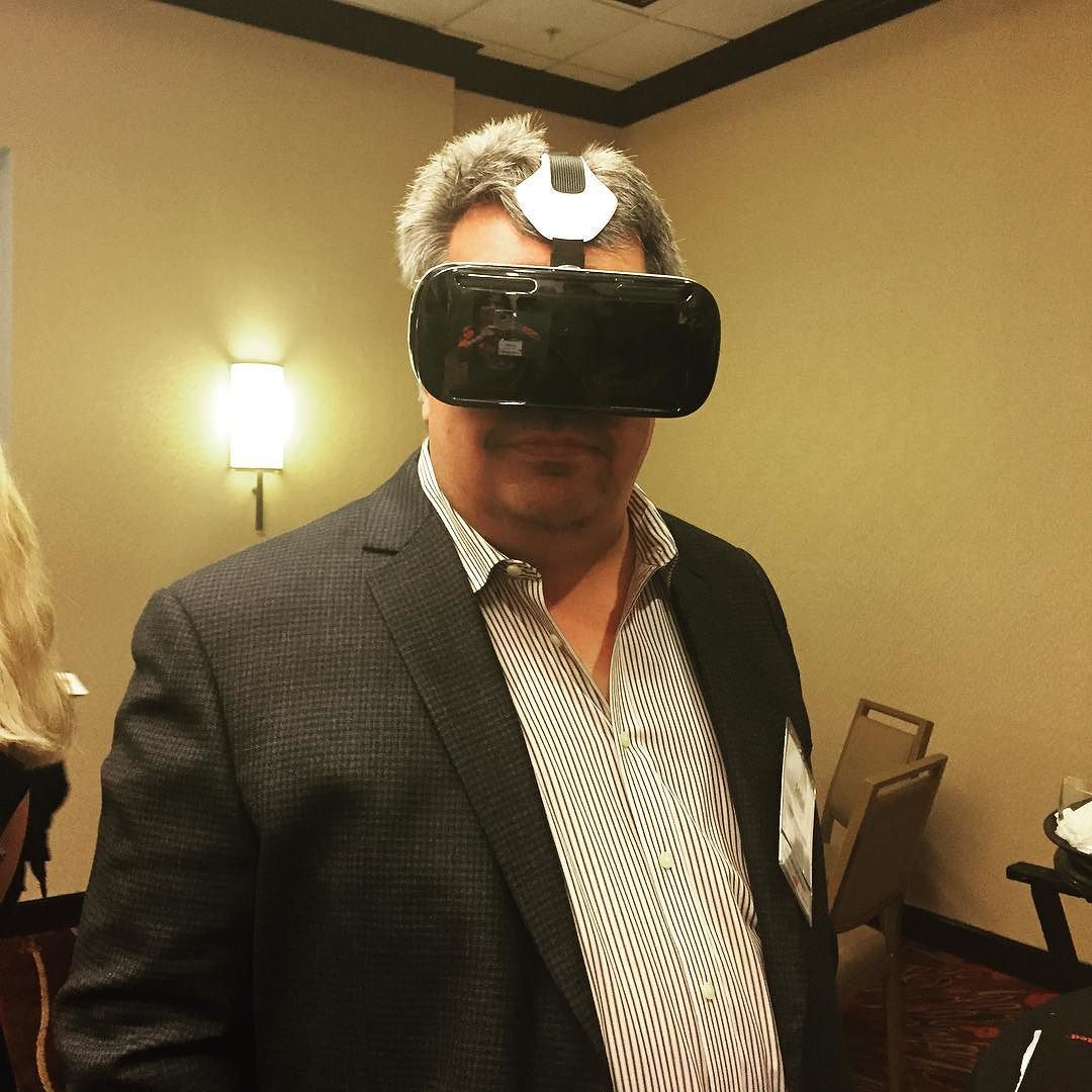 An awesome Virtual Reality pic! At networking event. All of us are trying virtual reality. Amazing!  This is Eddie from Rental Housing Center.#LivingTheSocialLife #virtualreality #occulus by saleslounge check us out: http://bit.ly/1KyLetq