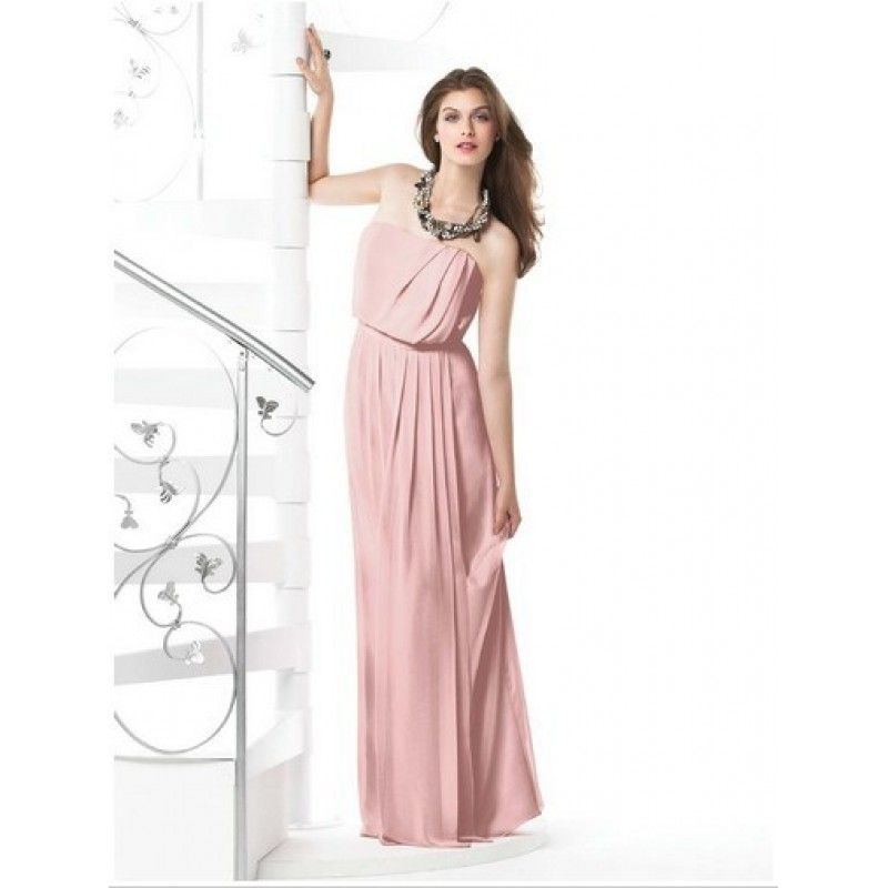 2015 sweetheart bridesmaid dress Rose Column Strapless Zipper Floor ...