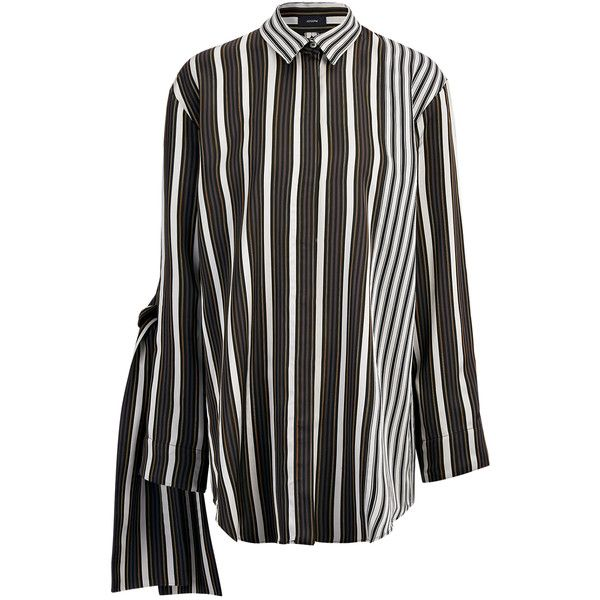Joseph Viscose Stripe Lyra Blouse in BLACK ($700) ❤ liked on Polyvore featuring tops, blouses, black, slim fit button up shirts, button down shirt, striped blouse, striped button up shirt and short-sleeve button-down shirts