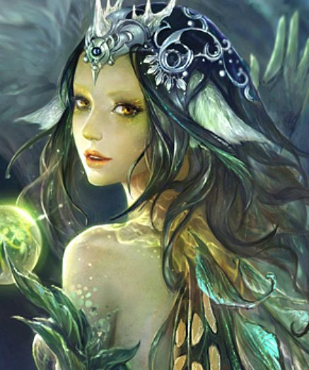 "子君 (Zinna Du), ""Legend of the Cryptids - Elf Princess"" advanced, detail. Love the green lights in her face."