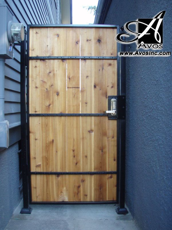 Ceder Board Gate For Privacy Gate With Steel Metal Frame Powder