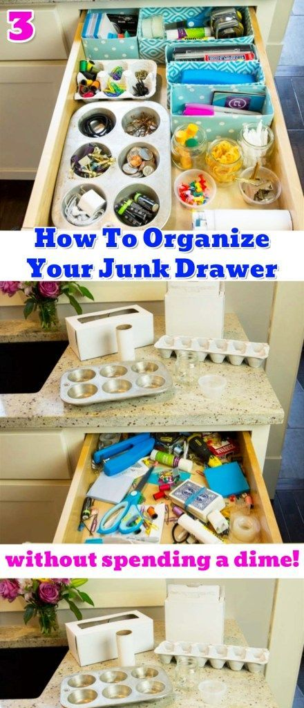 Junk Drawer Organization Tips Genius Organizing Ideas For All Junk Drawers Decluttering Your Life Junk Drawer Organizing Diy Drawer Organizer Getting Organized At Home
