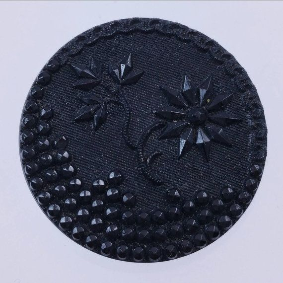 Vintage Black Glass Picture Button Flower Theme Fancy Black Glass Faceted Glass Button Antique Button