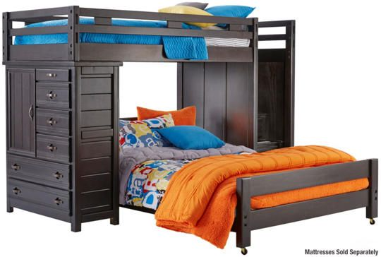 Best Creekside Twin Full Step Loft Bed With Chest Charcoal Art Van Furniture Twin Loft Bed 400 x 300