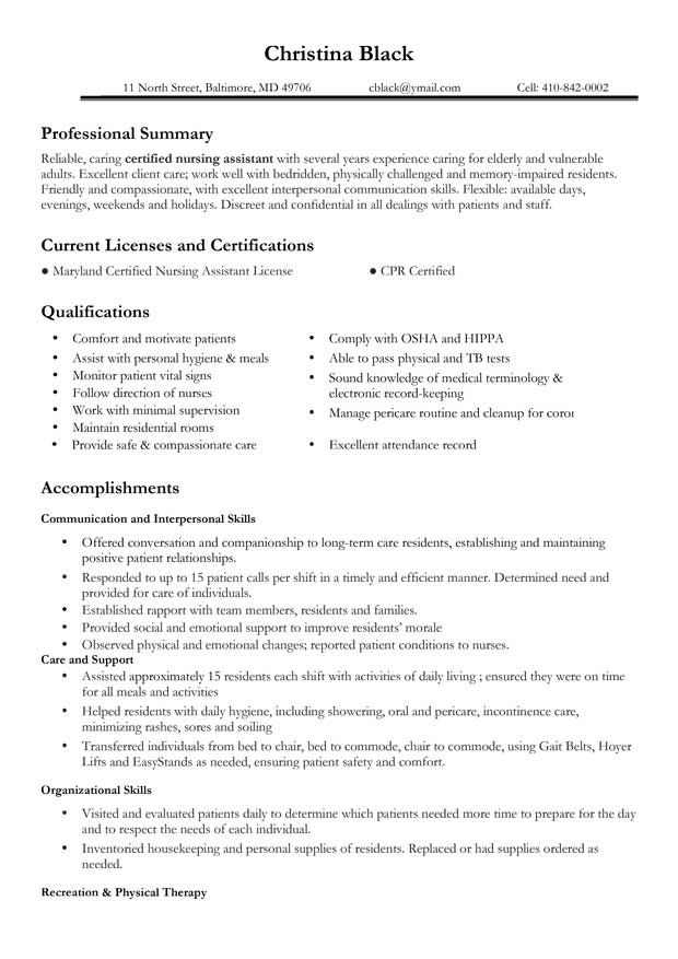 Sample Resume For Certified Nursing Assistant   Experience Resumes