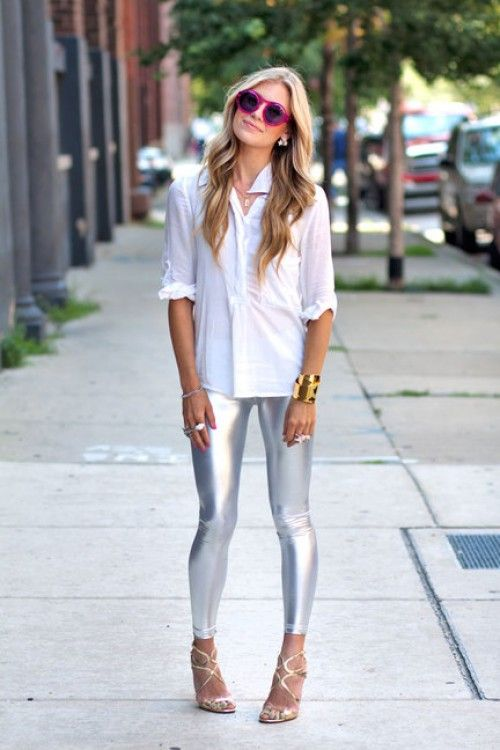 #DIY Wearing: Forever 21 ring, Alexis Bittar cuff, her mother's chain, American Apparel leggings,  Jimmy Choo shoes, and Gap top