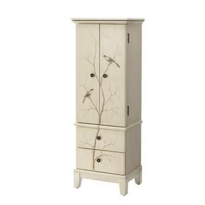 Home decorators collection chirp 2 door jewelry armoire in cream 1092210810 the home