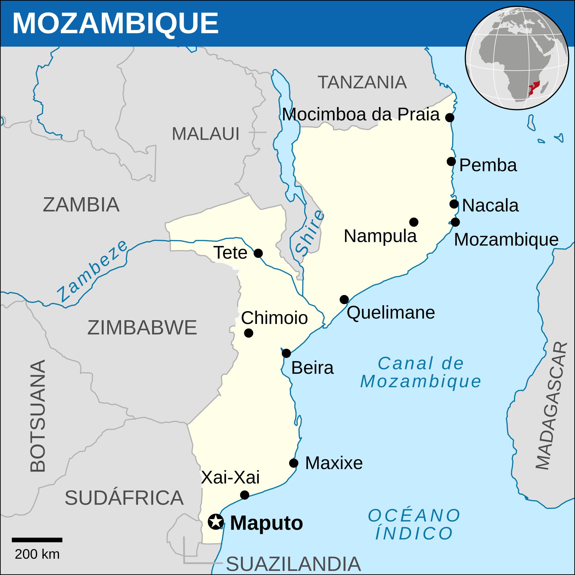 Mozambique Location Map 2013 MAPS Pinterest