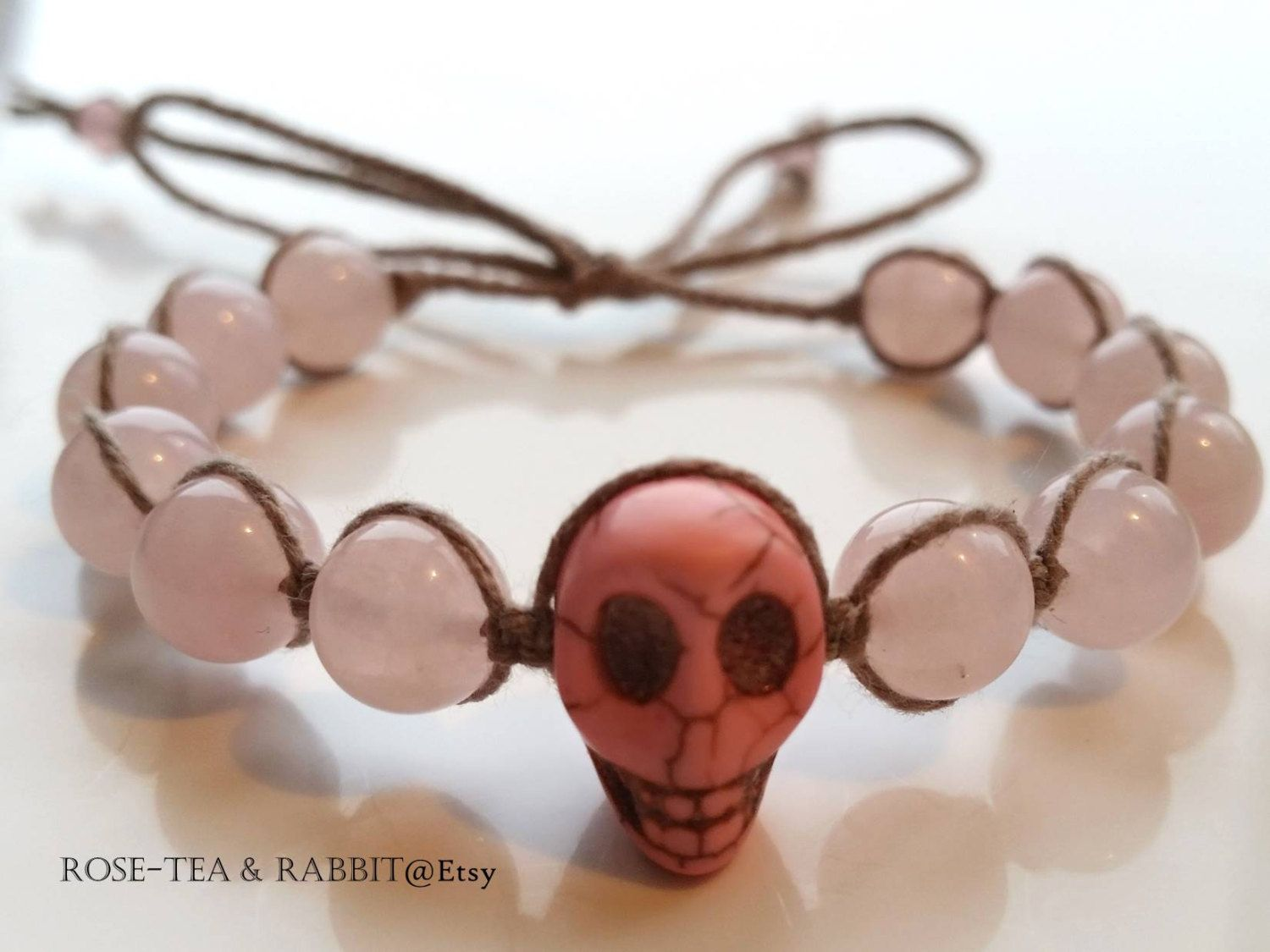 Woven Stacking Bracelet - Pink Turquoise Skull Detail - Semi-Precious Rose Quartz - Adjustable Tie Closure - Cute  - Wear Alone or as a Set by RoseTeaAndRabbit on Etsy