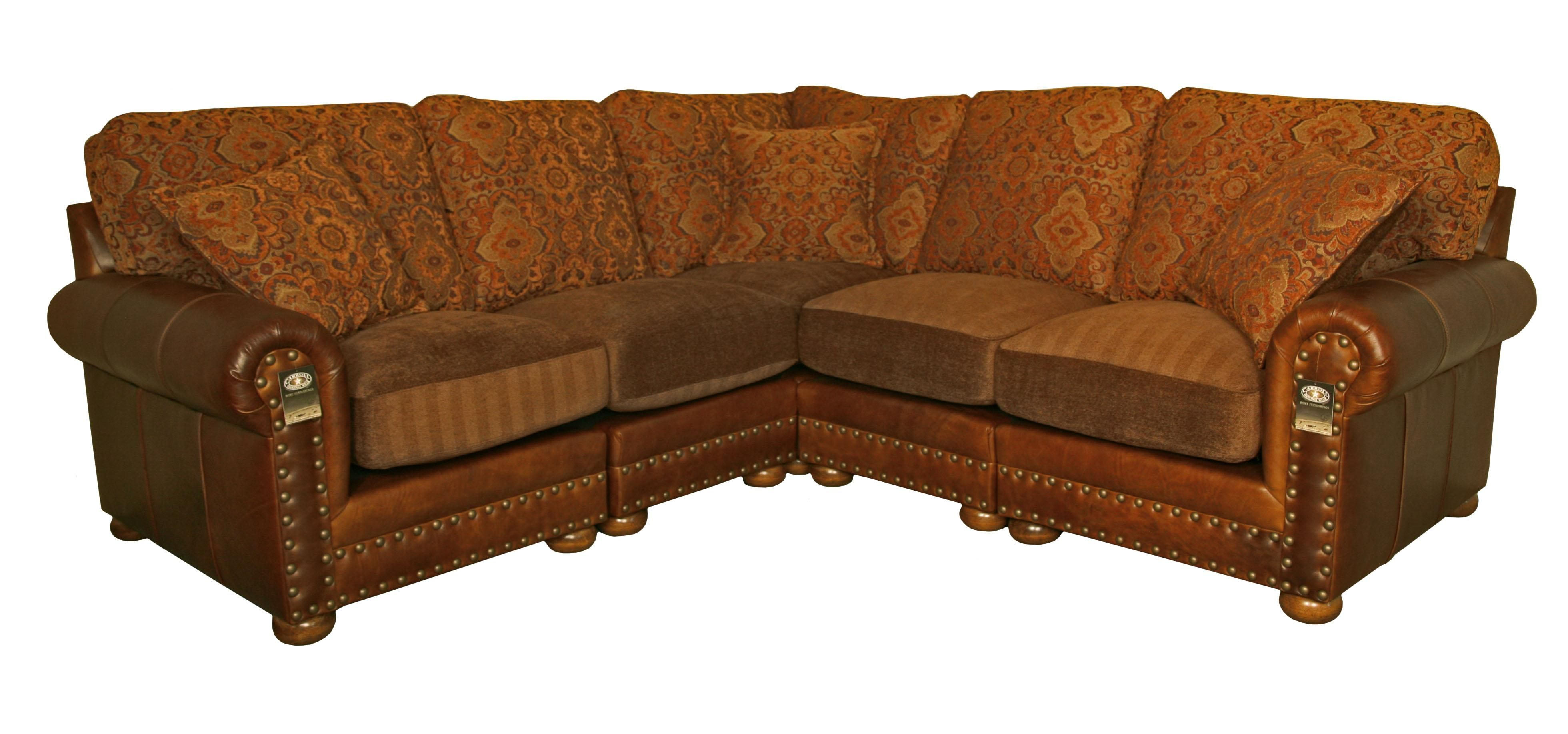 Hinsdale Sectional Sofa In Weston Pecan Leather Saloon Rust