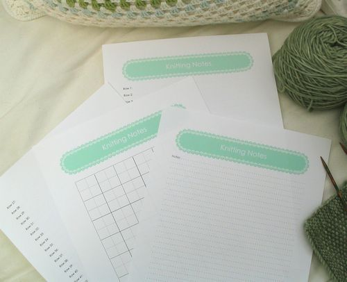 knitting note paper