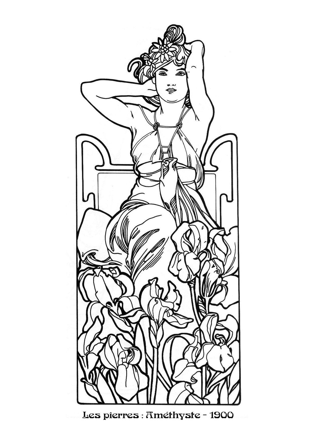 Kleurplaat naar Alfons Mucha *Colouring Picture A.Mucha
