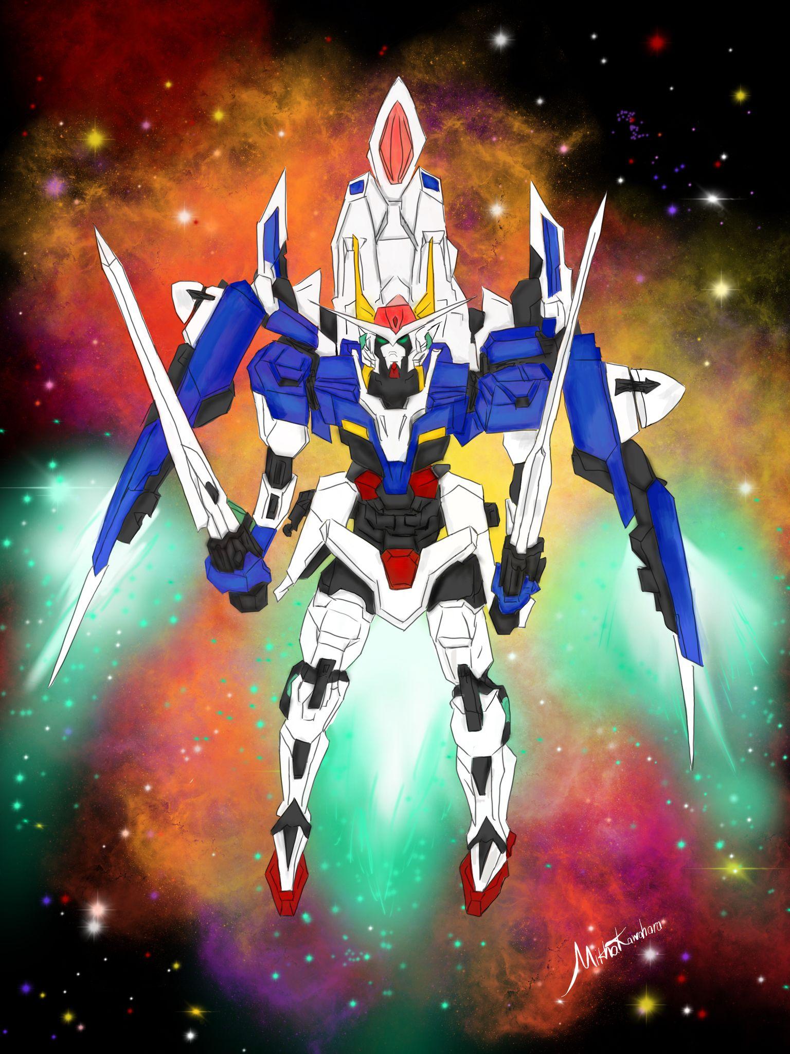 Gundam 00 Raiser Hand-drew and digitally painted.