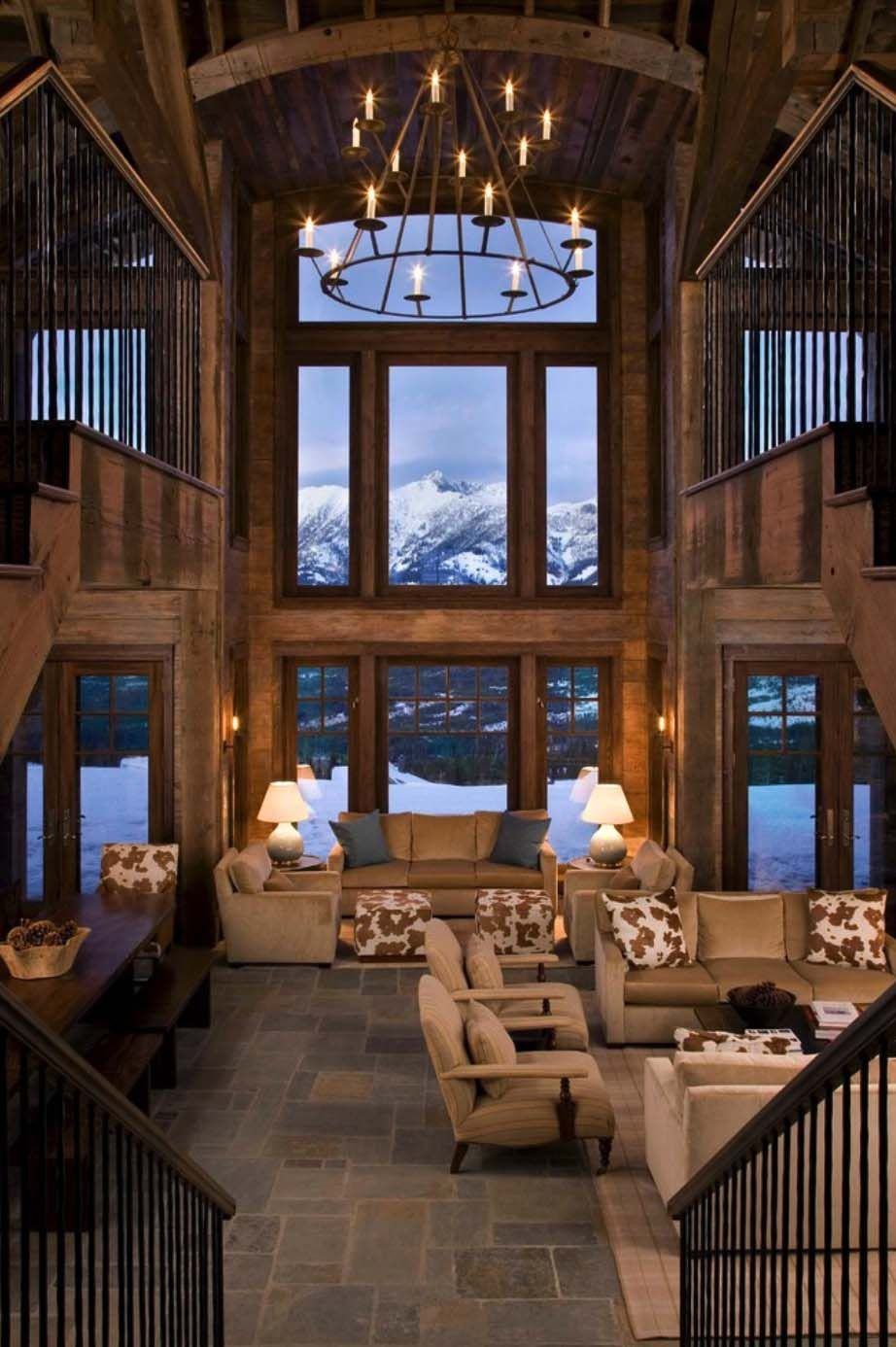 Rustic mountain retreat in big sky resembles an old lodge  would have  huge fire place instead of window houzz large living rooms also future rh pinterest