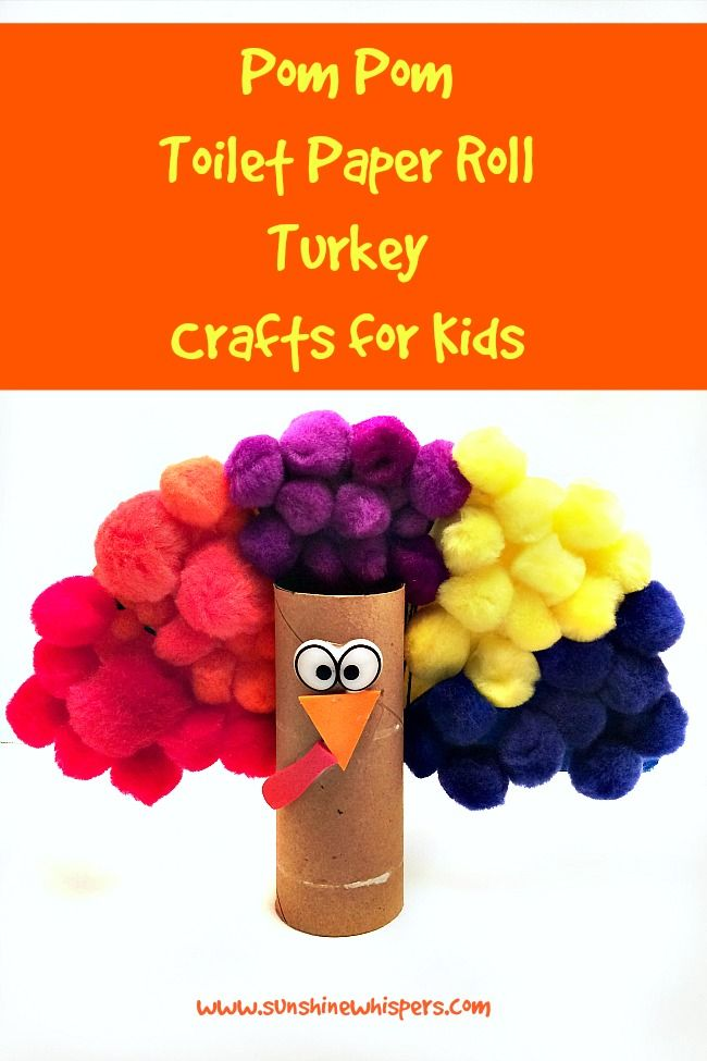 Pom Pom Toilet Paper Roll Turkey Crafts for Kids - Sunshine Whispers  http://www.sunshinewhispers.com/2015/11/pom-pom-toilet-paper-roll-turkey-crafts-for-kids/