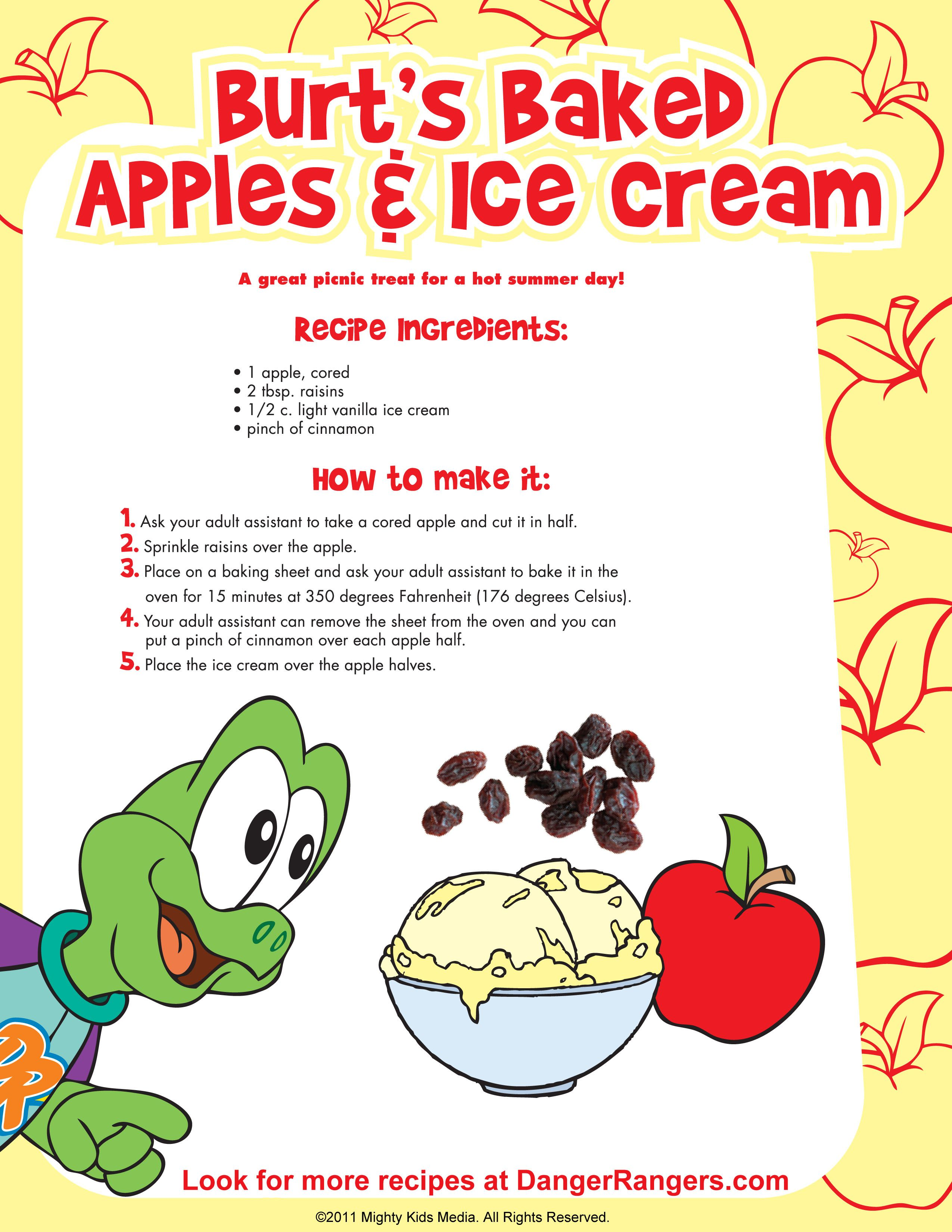 Apples Amp Icecream Kidsrecipes Freeprintable With