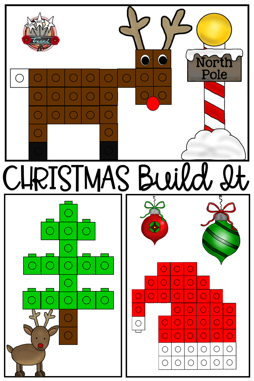 Linking Cube Math Mat Pictures Christmas Kindergarten Preschool Christmas Christmas Classroom [ 2880 x 1920 Pixel ]