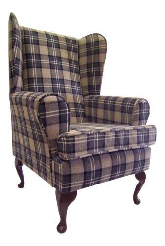 Fireside Wing Back Queen Anne Chair Charcoal Grey Tartan Check