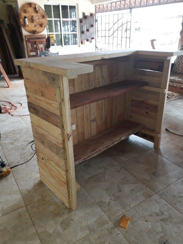 Barra de bar con madera recicladas leonwoodart instagram 68477833 whatsapp leonwoodart - Barra bar madera ...