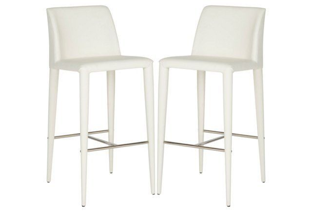 White Jordan Barstools, Pair