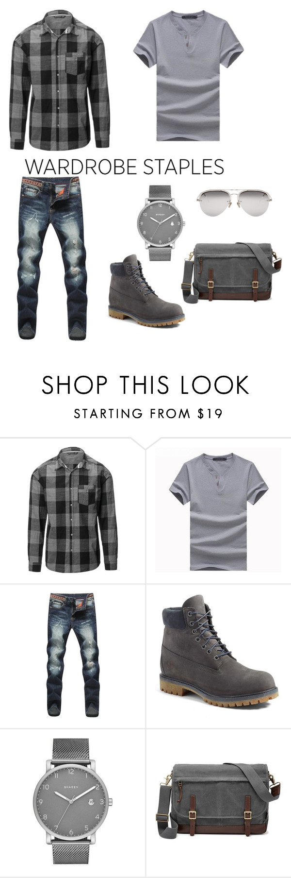 """""""Plaid Shirt by Siphon"""" by mel-c-n on Polyvore featuring Timberland, Skagen, FOSSIL, Linda Farrow, men's fashion, menswear, plaid, polyvorecontest and WardrobeStaples"""