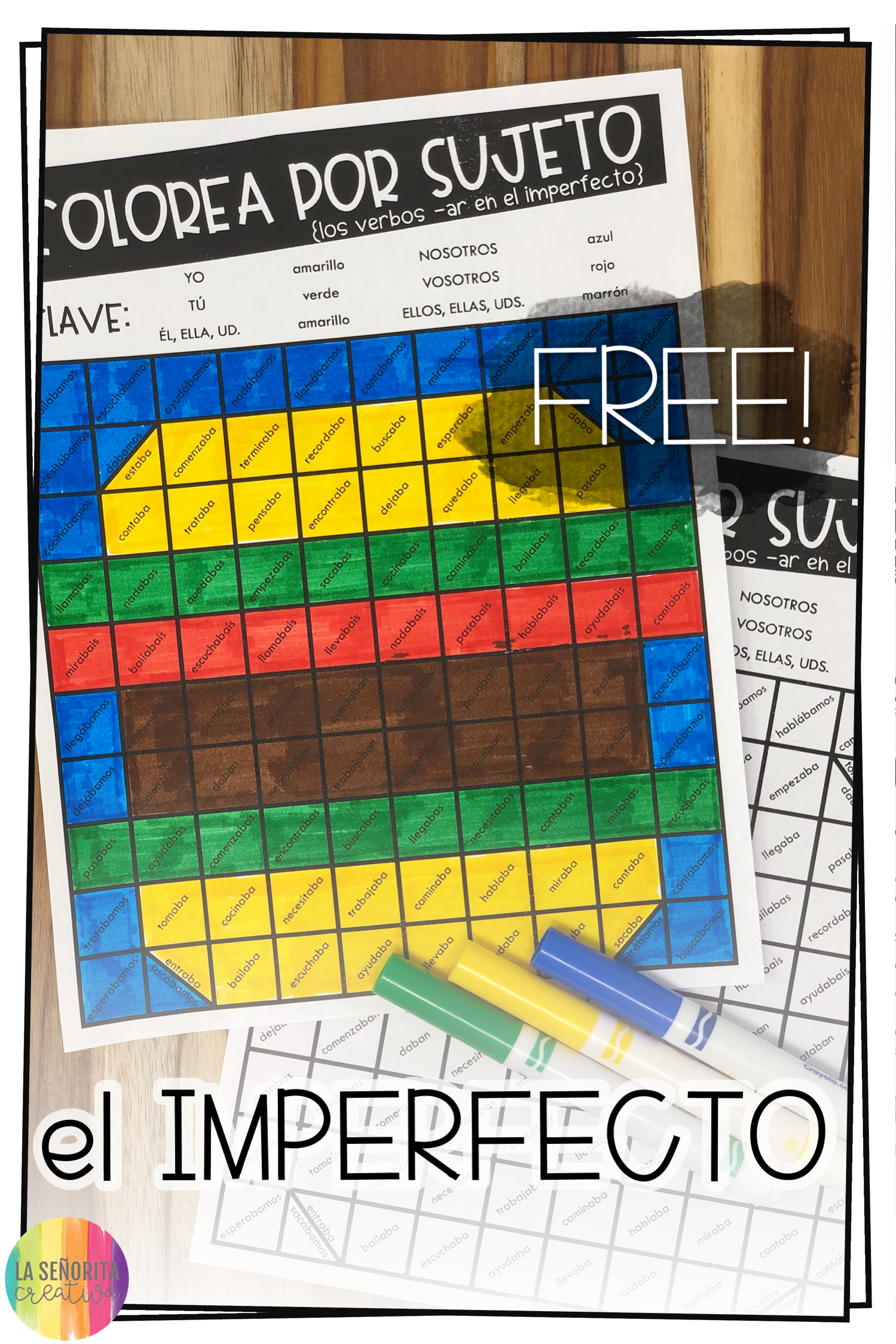 Love This Fun Free Way To Introduce Practice Or Review Ar Verb Conjugations For The Imperfect Tense In Spanish Color Activities Verb Conjugations Activities [ 2249 x 1499 Pixel ]