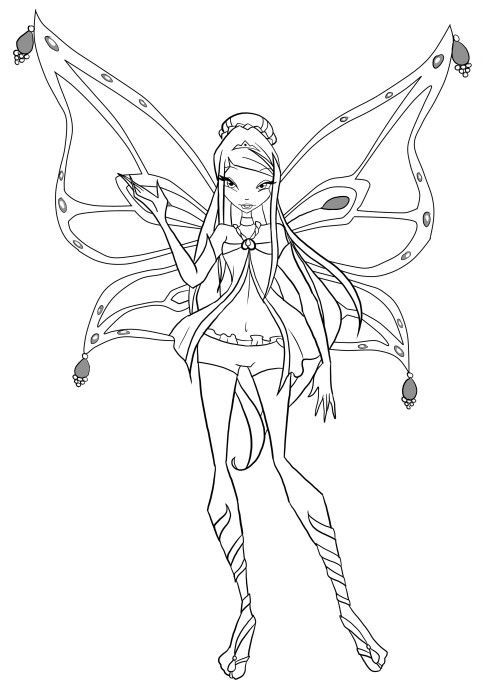 winx club roxy was waving hands coloring pages