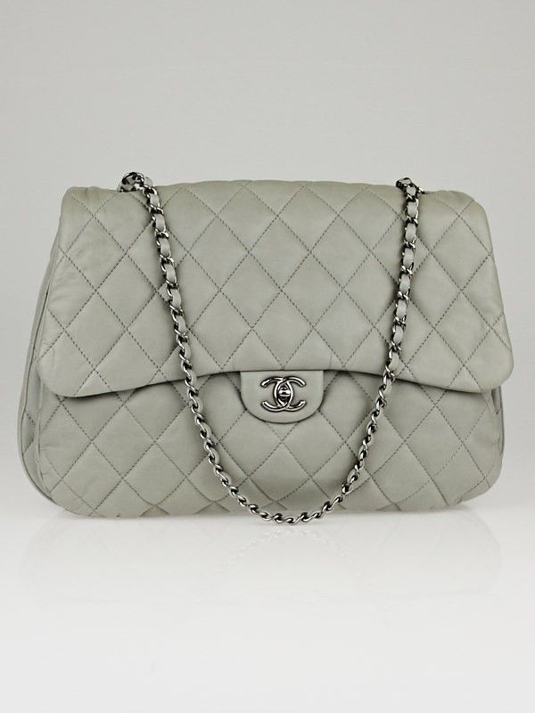 d2e1db52d876 Chanel Grey Quilted Lambskin Leather Jumbo XL 3 Accordion Flap Bag ...