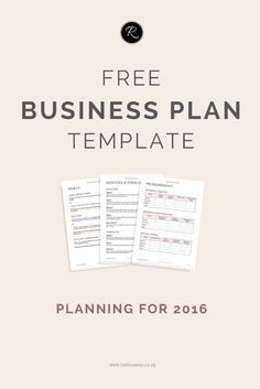 A business plan for 2016 free business plan business entrepreneur prepare for 2016 with this free business plan template this is perfect for accmission Choice Image