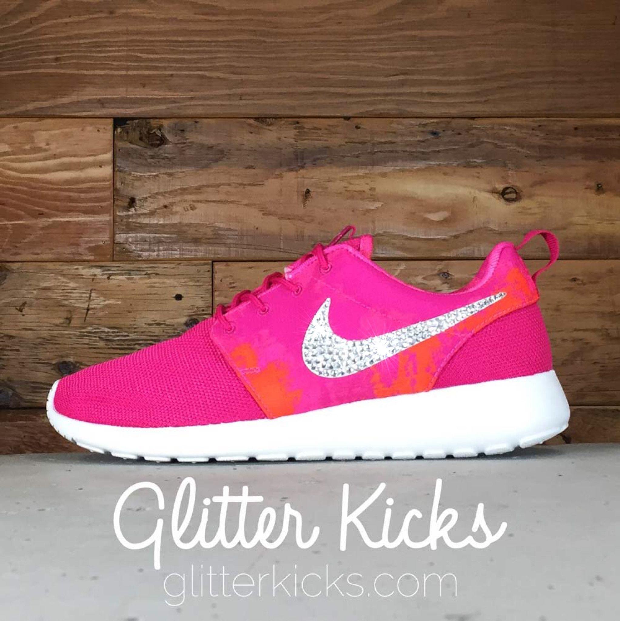 Women's Nike Roshe One Print By Glitter Kicks - Customized With Swarovski  Crystal Rhinestones - Fuschia