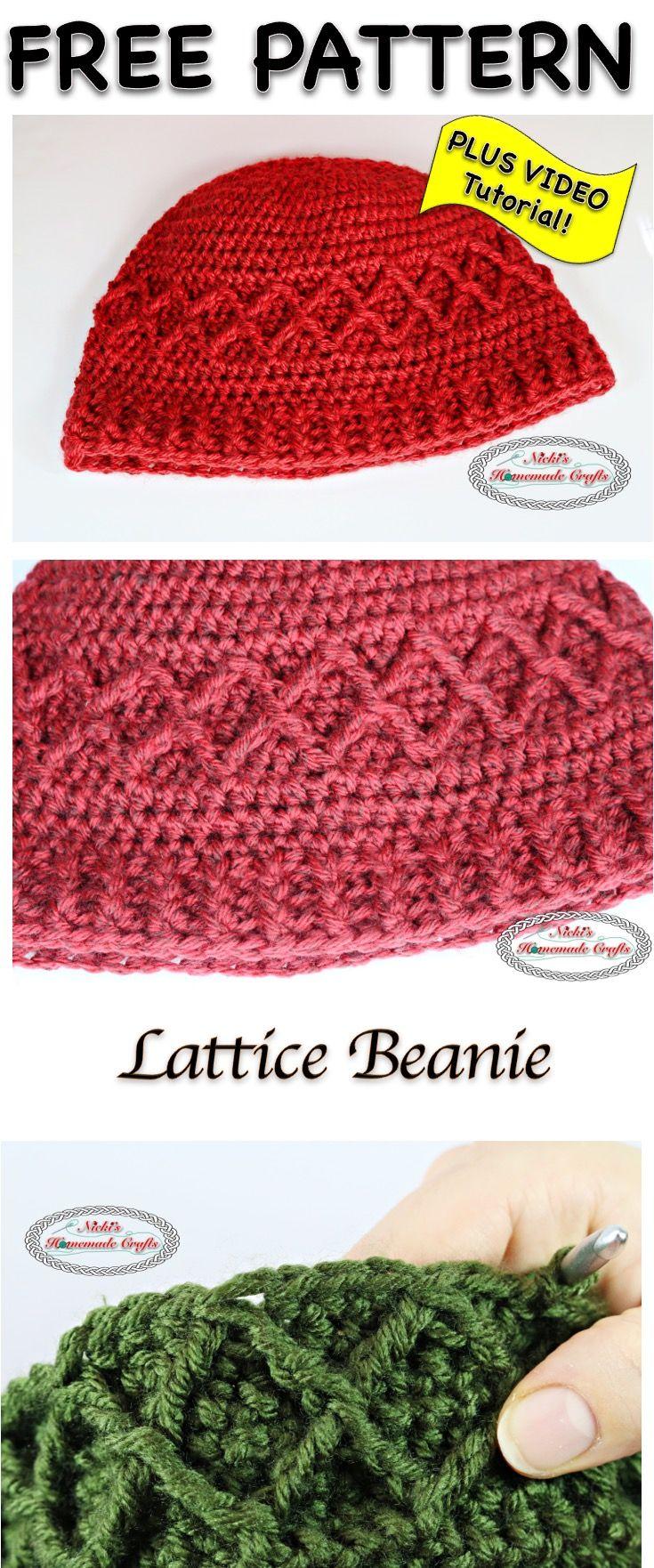 6d8aaf406e1 Lattice Beanie - Free Crochet Pattern by Nicki s Homemade Crafts  crochet   beanie  lattice