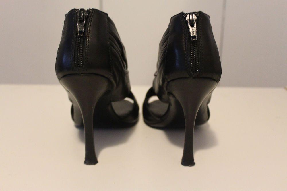 $89.00 - Designer Vera Wang Black High Heel Sandal shoe made in Italy Women's size 9M #VeraWang #Stilettos