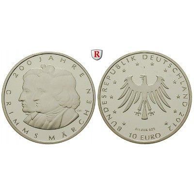 Bundesrepublik Deutschland, 10 Euro 2012, Grimms Märchen, F, 10,0 g fein, PP: 10 Euro 2012 F. Grimms Märchen. Polierte Platte 30,00€ #coins