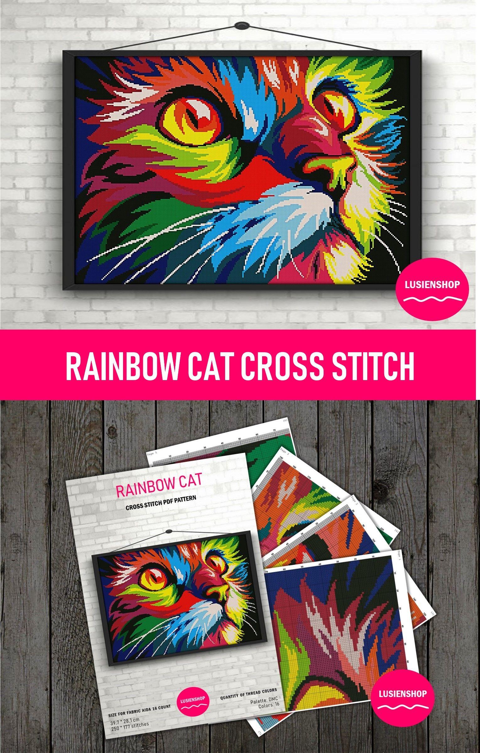Cat Cross Stitch Pattern Modern X Stitch Rainbow Cat Pdf