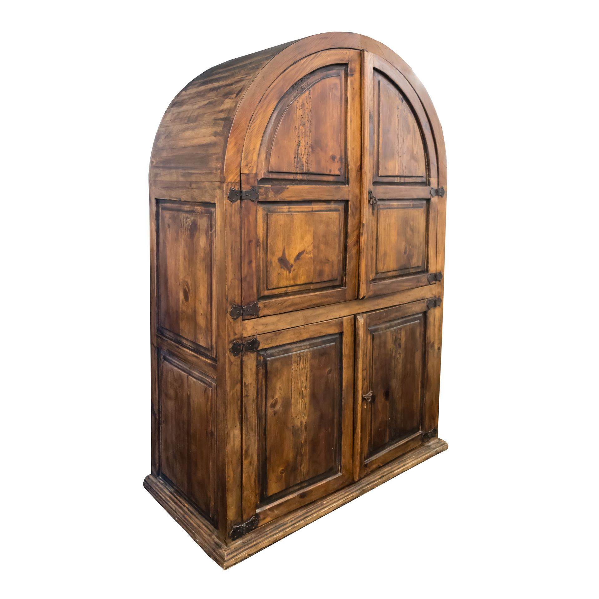 Distressed Pine Arched Top Computer Armoire