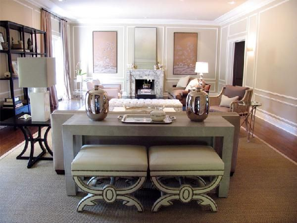 Betsy Burnham/ Great Idea For Extra Seating In Family Room. Tuck 2 Stools  Under Console Table.