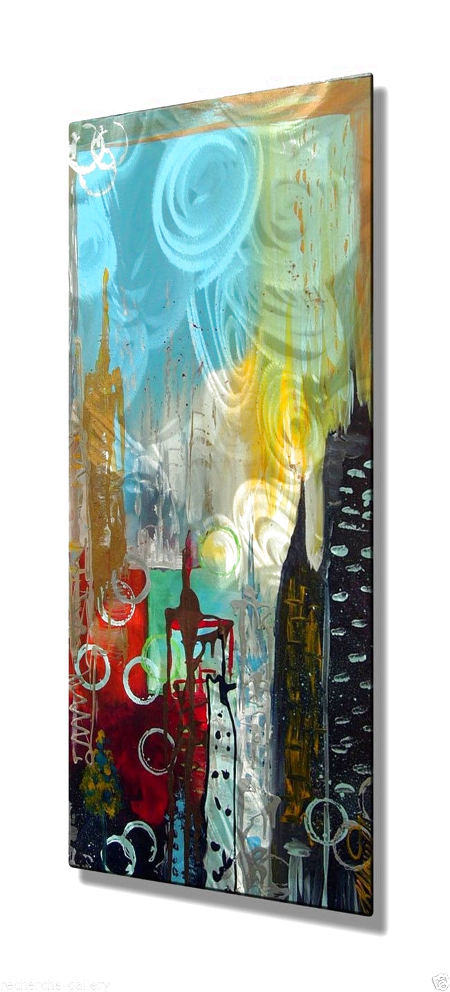Abstract new york cityscape metal wall art painting usa made home
