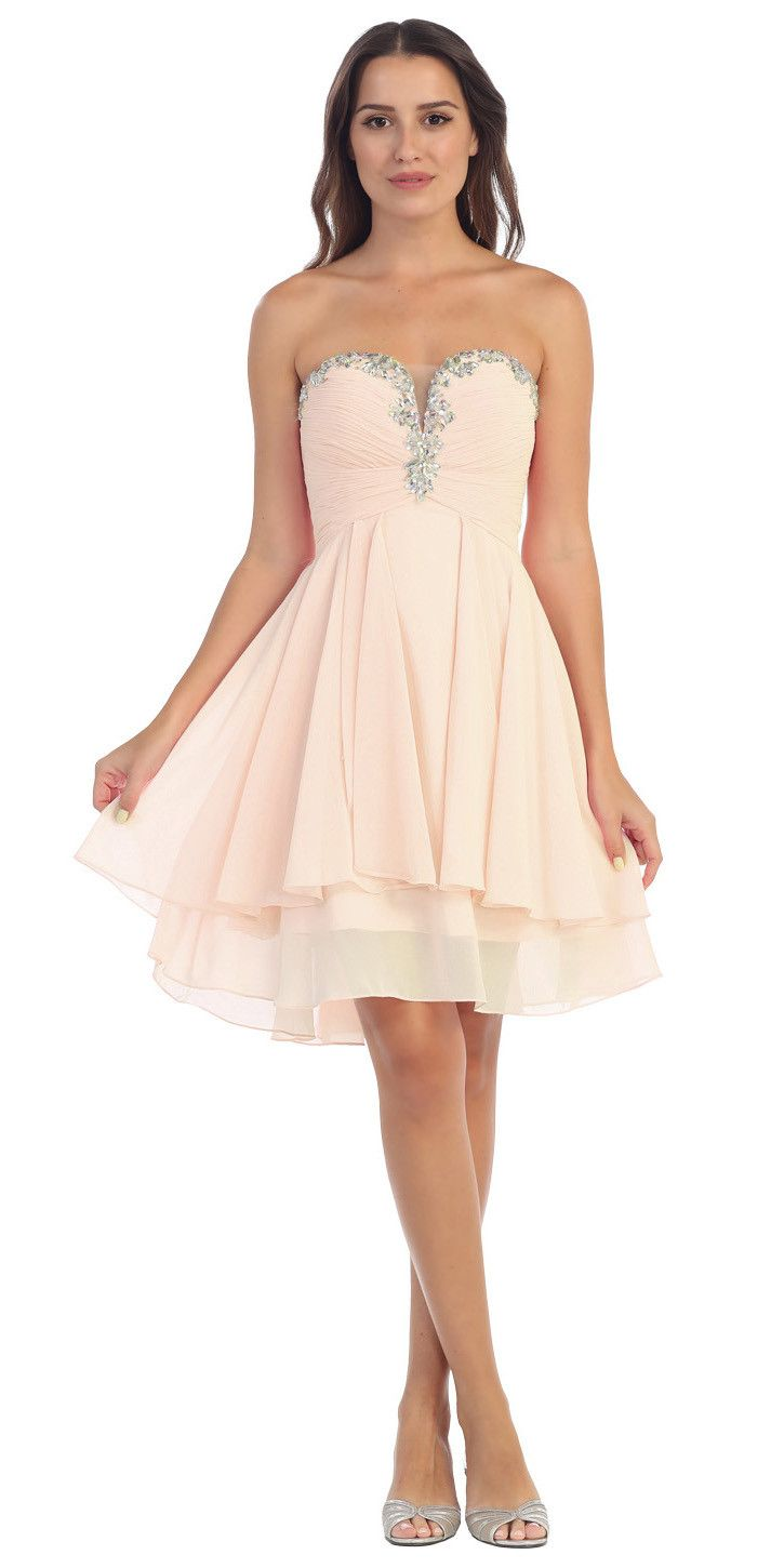 1ea646a10ef Starbox USA S6099 Beaded Ruched Bust Pink Chiffon A-line Short Prom Dress  Sweetheart Neck