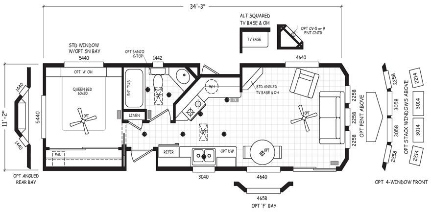 Papago 12 X 35 Park Model Rv Floor Plan Factory Expo Park Models Park Model Homes Park Models Rv Floor Plans