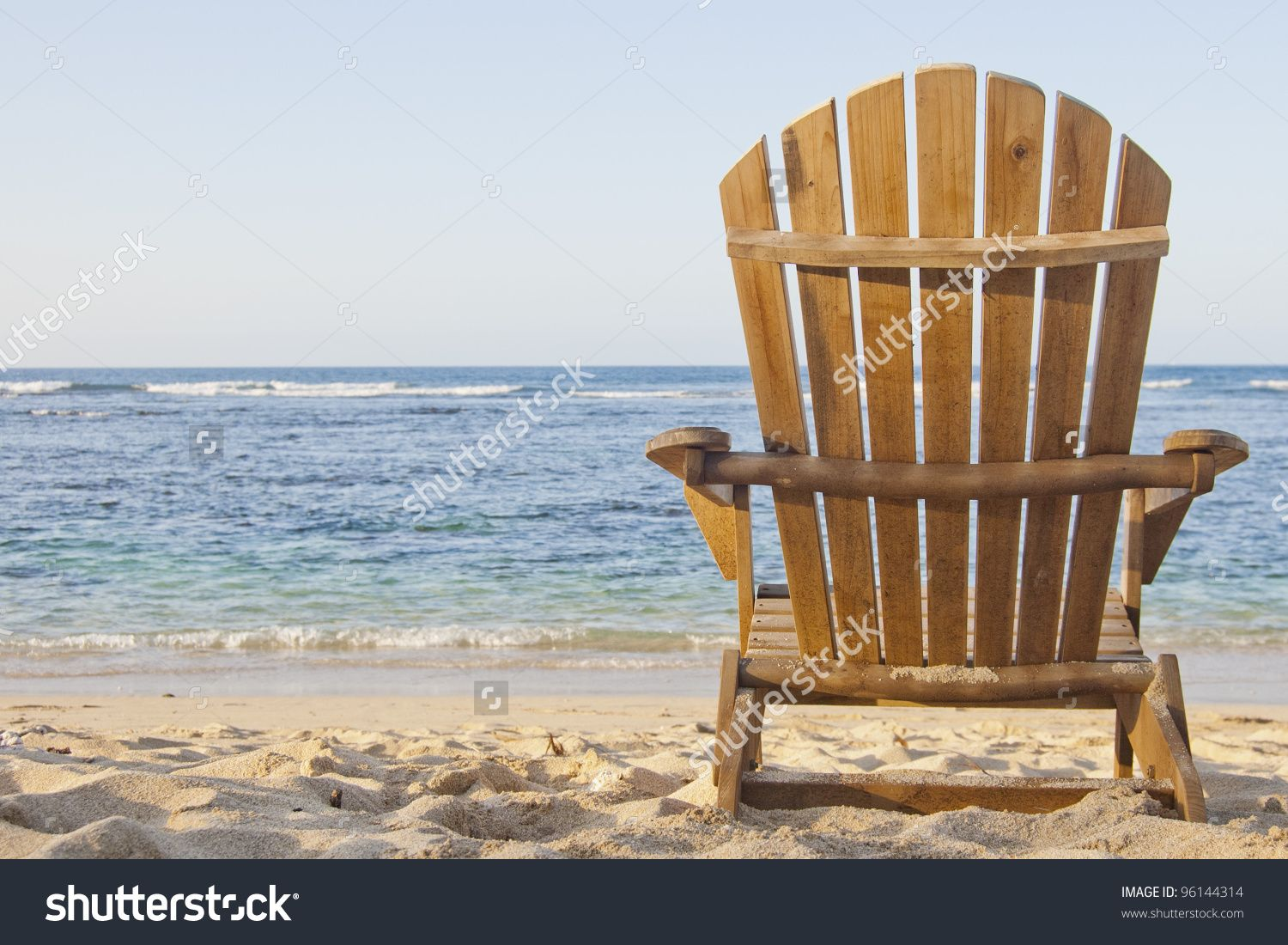 Beach Chair Adirondack Scene Stock Photo 96144314
