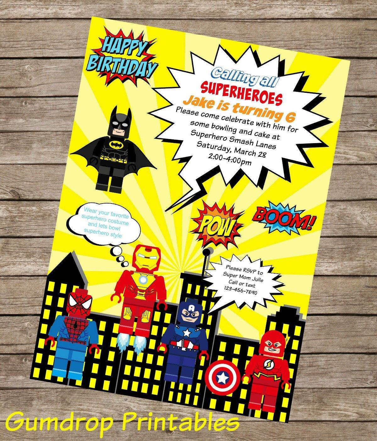 Lego Superhero Printable Birthday Invitation ~ Personalized with ...