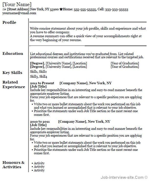 Student Resume Template Resumes Pinterest Professional - standard resume template