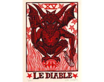 XV der Teufel Tarot-Karte Ava. A6 von GoatshrineArt auf Etsy