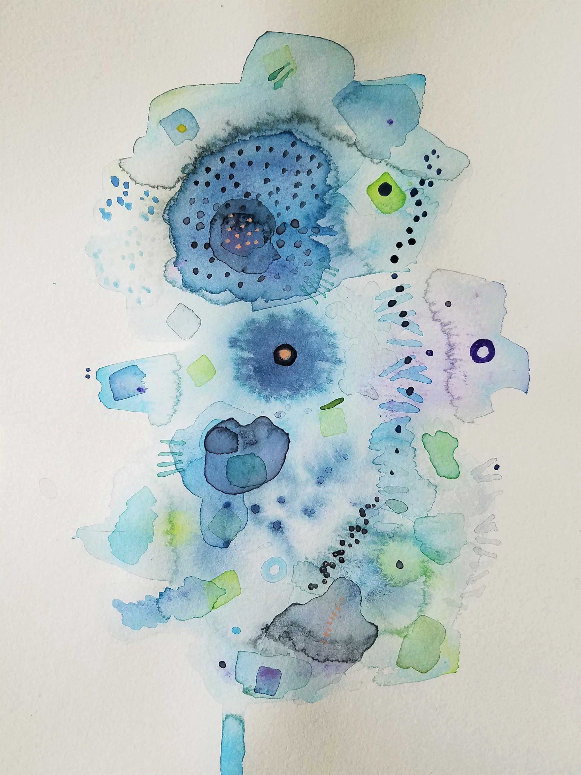 Original Abstract Modern Watercolor Stitch Art Watercolor