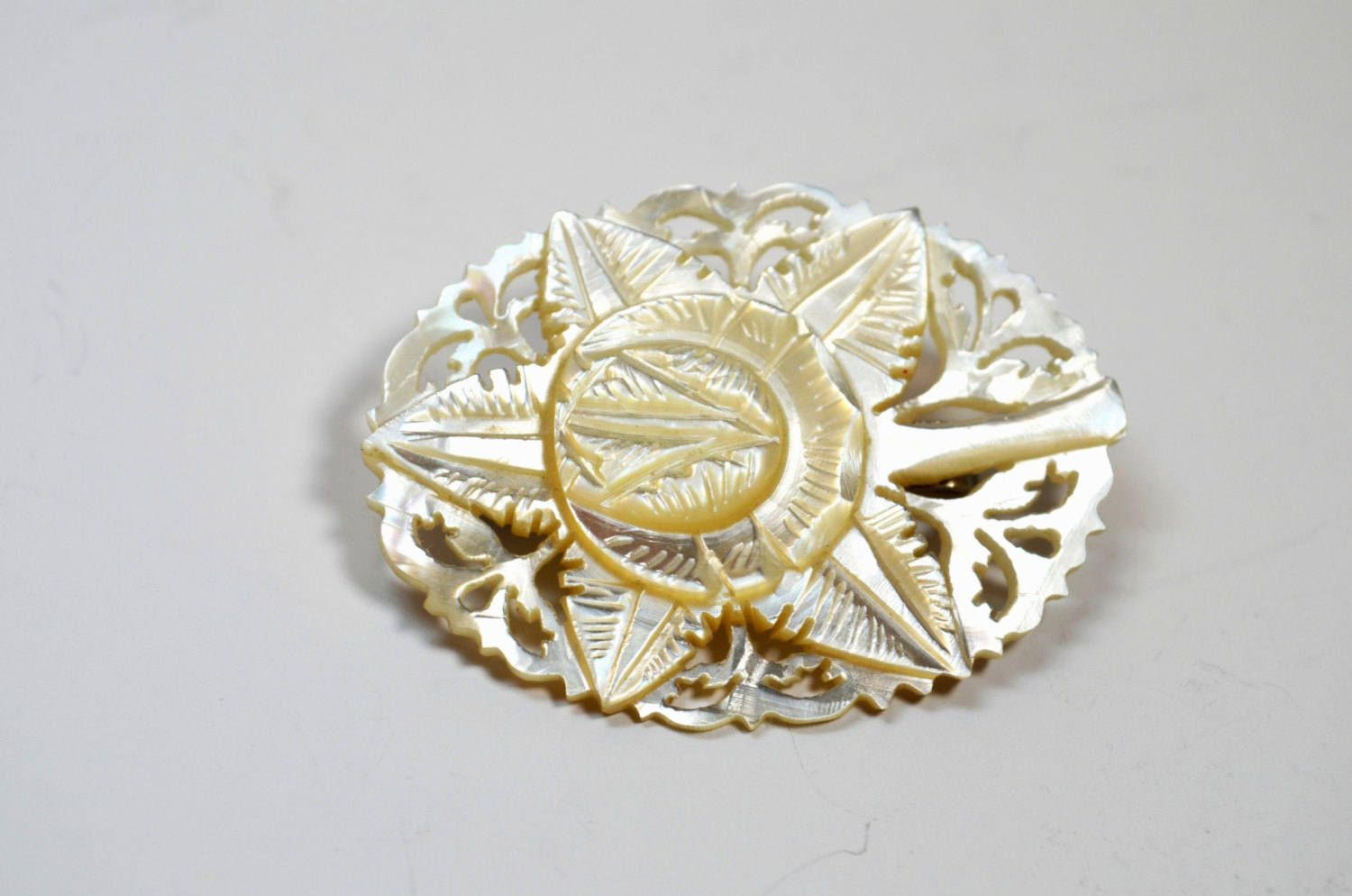 Vintage Mother Of Pearl MOP Hand Carved BroochPin
