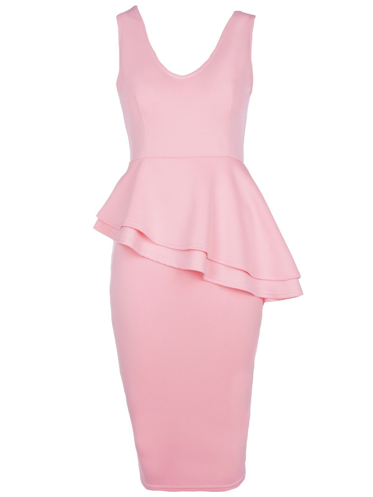 pink peplum jumpsuits | Powder Pink Sleeveless Side Slant Peplum ...