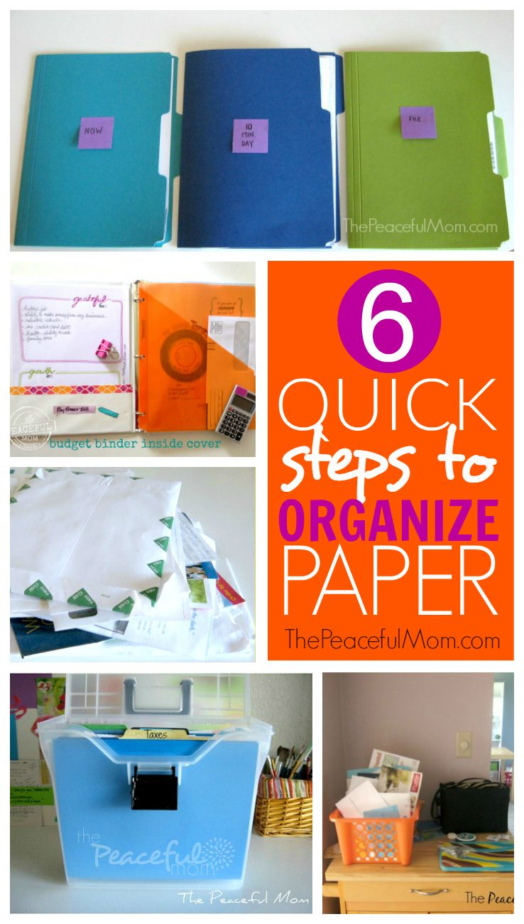 Drowning in paper? Organize it in just 10 minutes so you never pay a late payment or miss a deadline again! -- from ThePeacefulMom.com