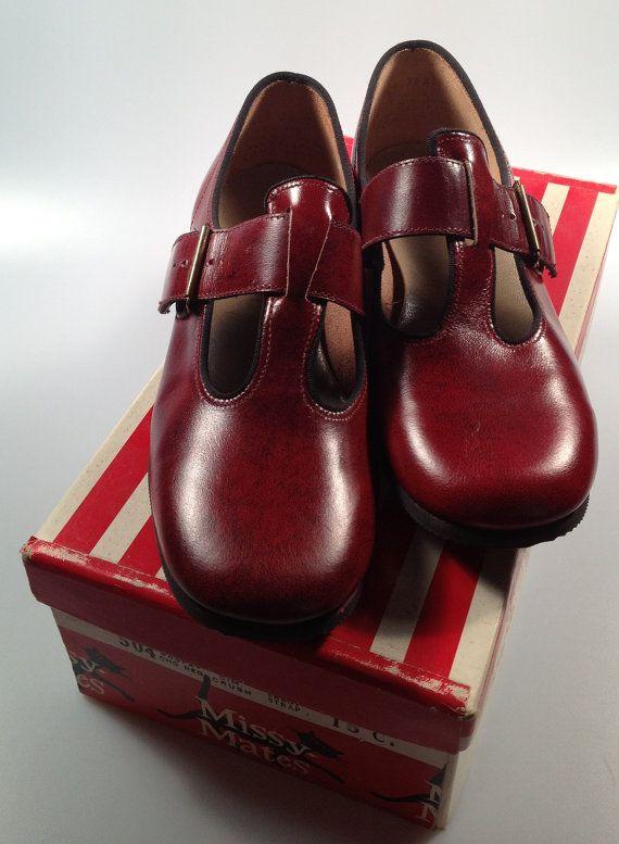 Girls Vintage T STRAP Shoes Oxblood Red