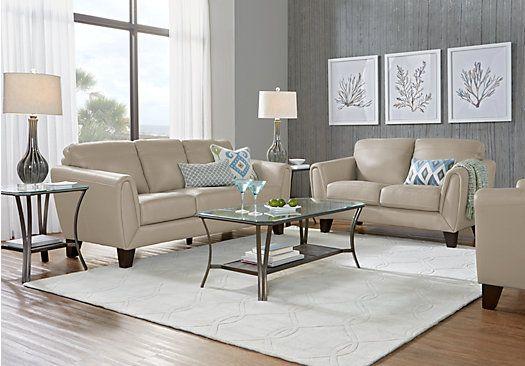 Livorno Beige Leather 3 Pc Living Room $209999Find Simple Affordable Living Room Designs Design Inspiration
